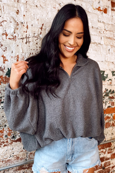 Sherpa Teddy Quarter Zip Pullover from Dress Up