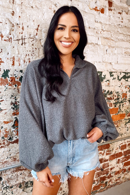 Charcoal - Sherpa Teddy Quarter Zip Pullover from Dress Up
