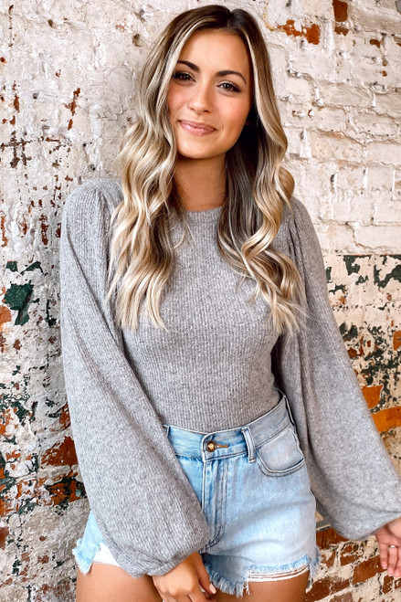Heather Grey - Balloon Sleeve Ribbed Knit Top