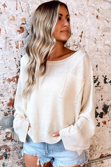 Ivory - Dress Up model wearing the Split Hem Oversized Knit Top