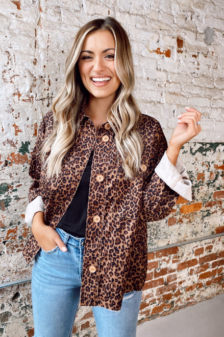 Leopard - Model wearing the Corduroy Cargo Shirt Jacket buttoned up