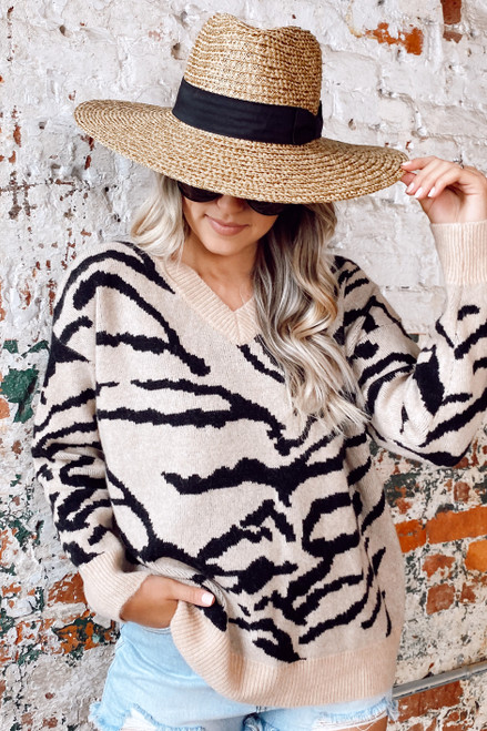 Taupe - Tiger Print Brushed Knit Top