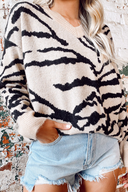 Taupe - Tiger Print Brushed Knit Top from Dress Up