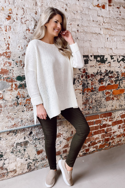 White - Oversized Lightweight Knit Top