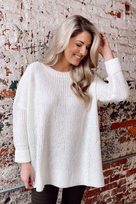 White - Oversized Lightweight Knit Top from Dress Up