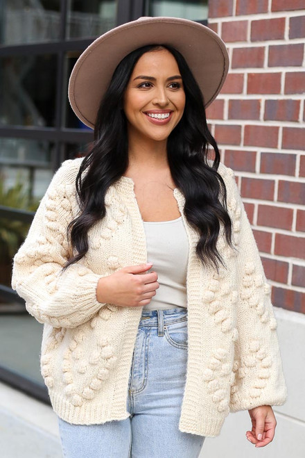 Ivory -  Pom Pom Heart Knit Cardigan from Dress Up boutique