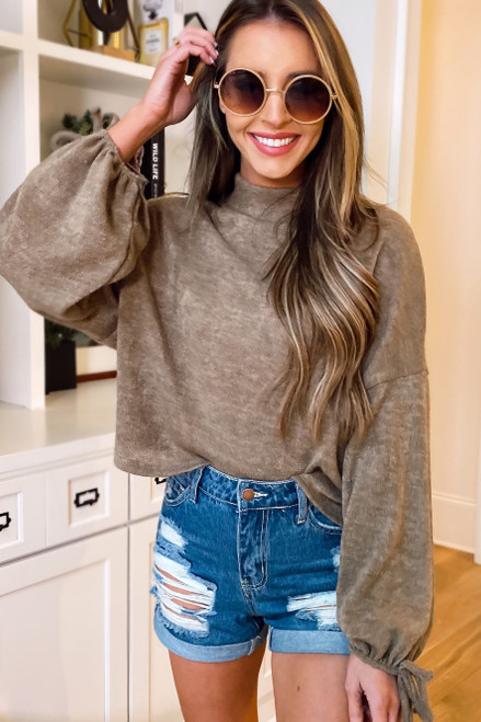 Taupe - Balloon Sleeve Knit Top from online dress boutique