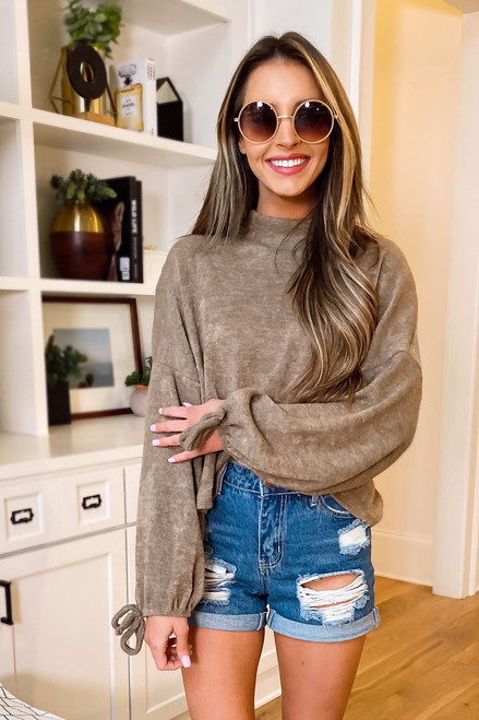 Taupe - Balloon Sleeve Knit Top