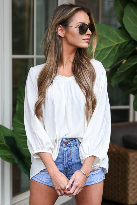 Ivory - Balloon Sleeve Babydoll Blouse from Dress Up
