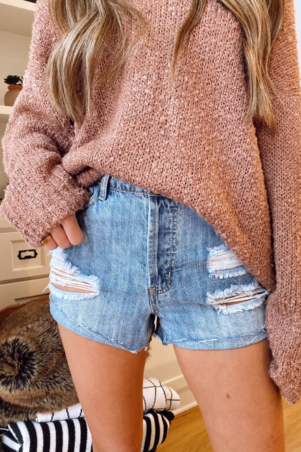 Light Wash - High-Waisted Distressed Denim Shorts