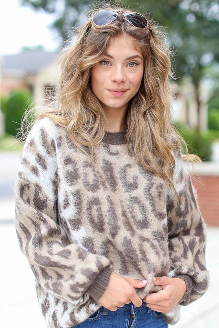 Leopard - Fuzzy Luxe Knit Top