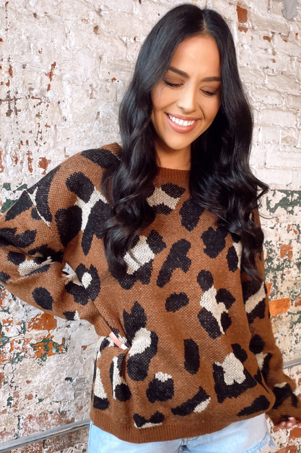 Brown - Leopard Print Knit Top