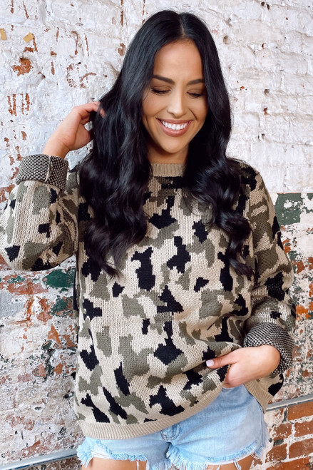 Taupe - Camo Luxe Knit Top