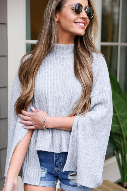 Grey - Mock Neck Statement Sleeve Top