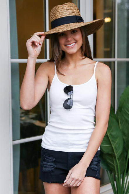 White - Dress Up model wearing the Ribbed Tank with a wide brim hat