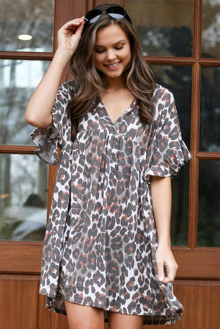 Leopard - V-Neck Babydoll Dress