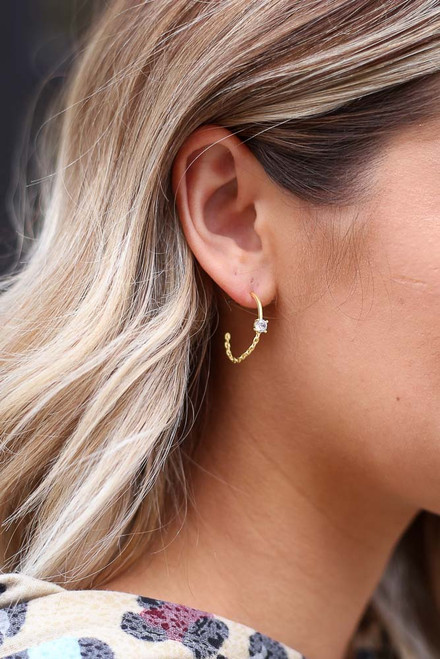 Gold - Rhinestone + Chain Hoop Earrings