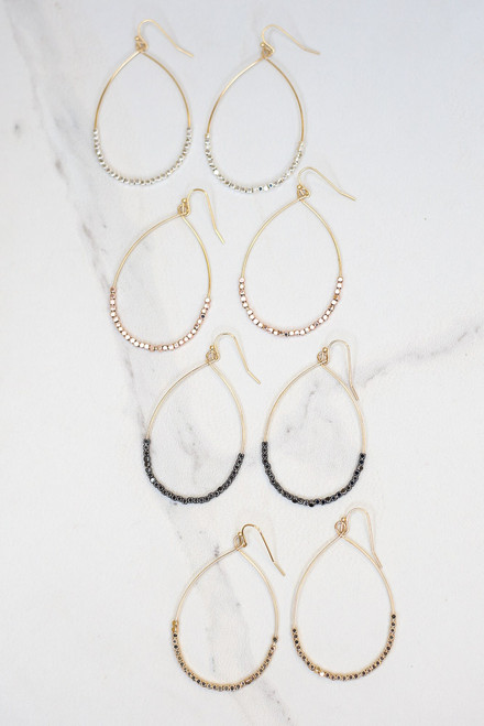 Gold - Beaded Teardrop Earrings