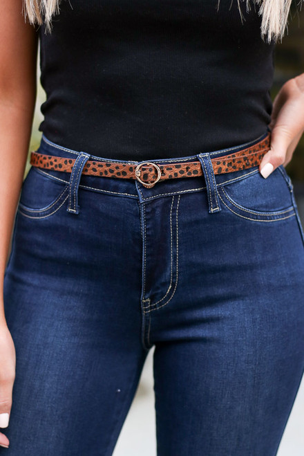 Leopard - Faux Leather Skinny Belt Set