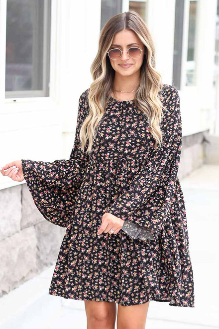 Black - Floral Bell Sleeve Babydoll Dress