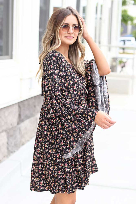 Black - Floral Bell Sleeve Babydoll Dress from Dress Up