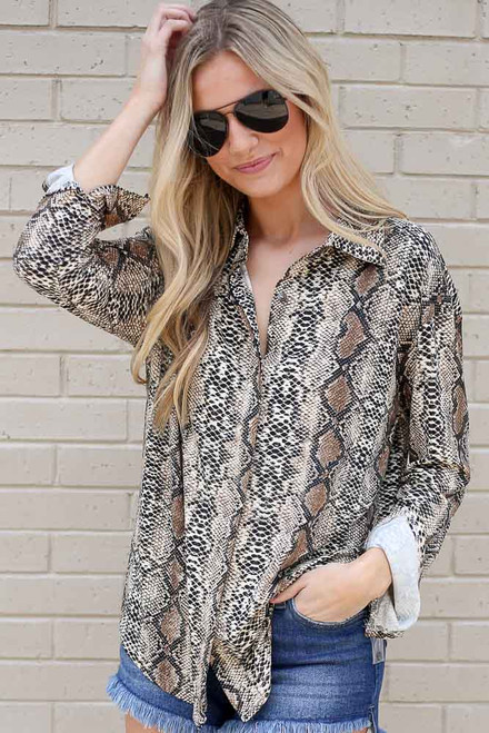 Taupe - Snakeskin Button Up Blouse