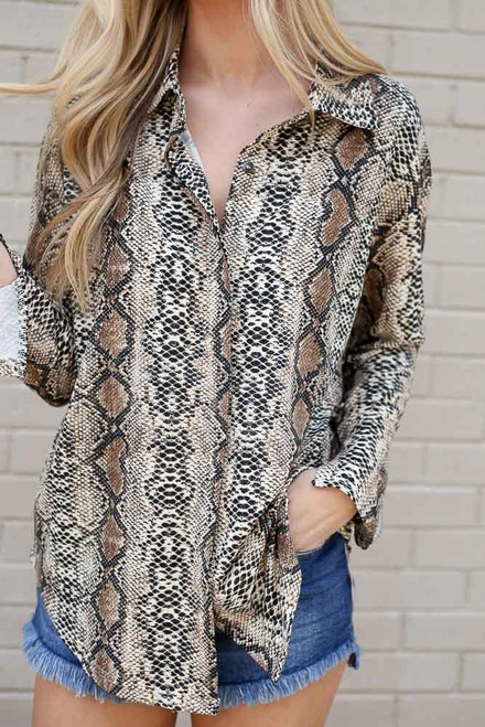 Taupe - Snakeskin Button Up Blouse from Dress Up