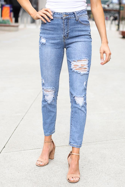 Medium Wash - High-Rise Distressed Mom Jeans from Dress Up