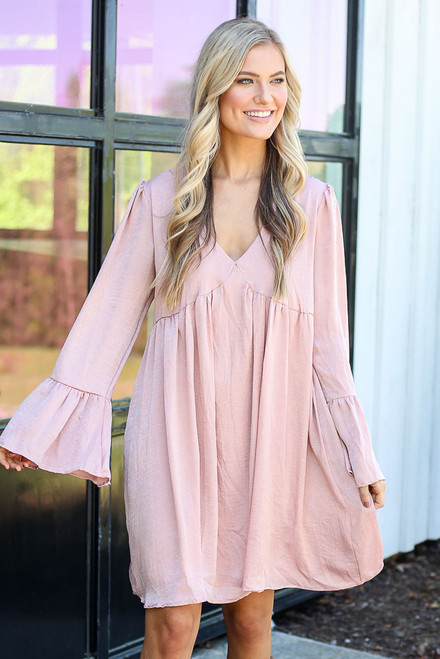 Blush - Faux Satin Babydoll Dress