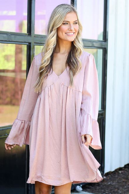 Blush - Faux Satin Babydoll Dress from Dress Up
