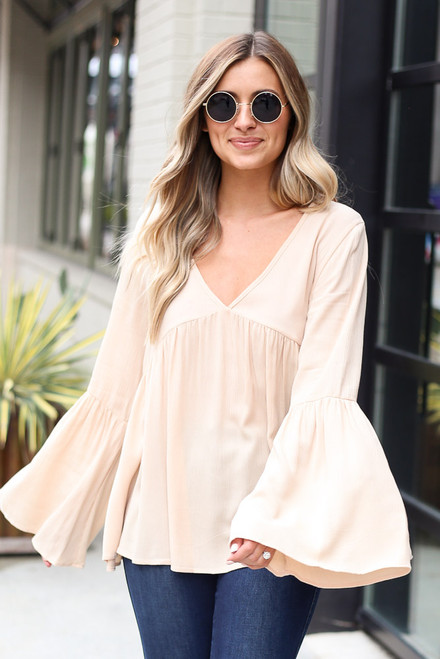 Ivory - Bell Sleeve Babydoll Blouse from Dress Up