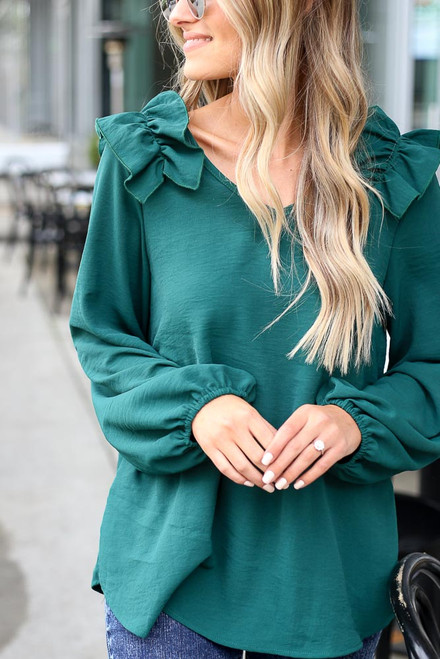 Green - Ruffle Shoulder Blouse from Dress Up
