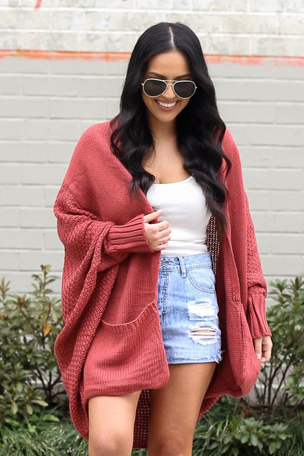 Rust - Oversized Knit Cardigan from Dress Up