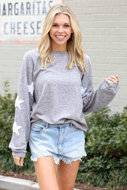 Heather Grey - Star Sleeve Oversized Pullover