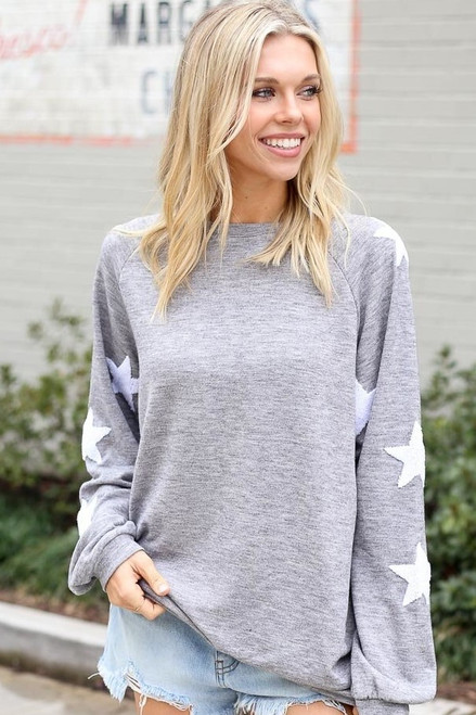 Heather Grey - Star Sleeve Oversized Pullover from Dress Up