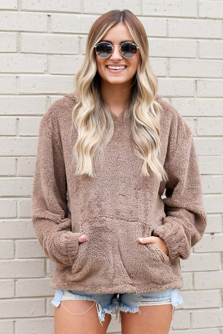 Taupe - Fuzzy Knit Pullover Hoodie
