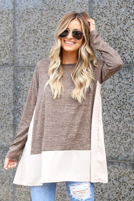 Mocha - Lightweight Knit + Chiffon Top
