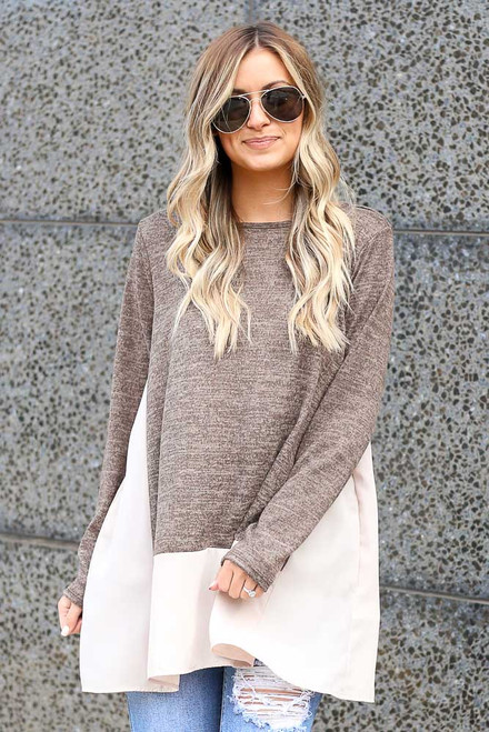 Mocha - Lightweight Knit + Chiffon Top from Dress Up