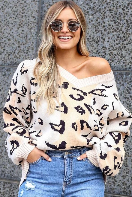 Blush - Color Block Leopard Luxe Knit Top