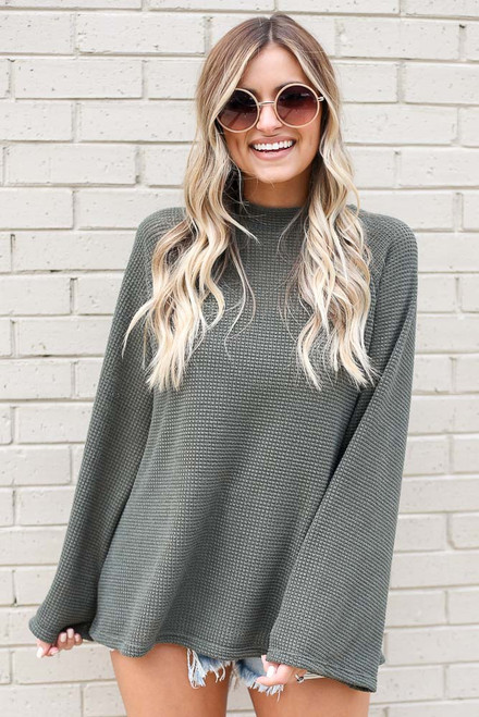 Olive - Mock Neck Loose Waffle Knit Top