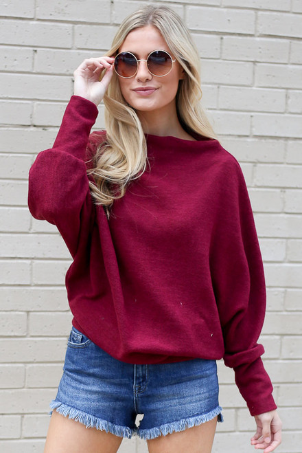 Burgundy - Lightweight Fleece Dolman Sleeve Tunic from Dress Up