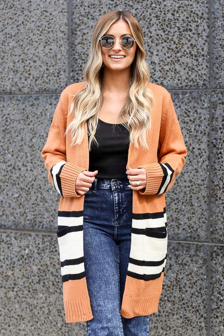 Rust - Striped Longline Cardigan from Dress Up