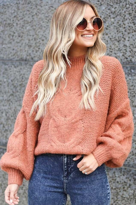 Rust - Mock Neck Cable Knit Top from Dress Up