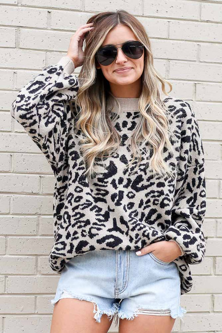 Black - Leopard Luxe Knit Top