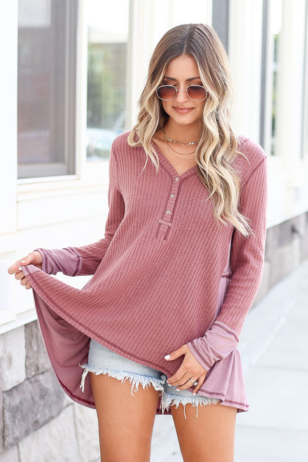 Mauve - Waffle Knit Oversized Top from Dress Up