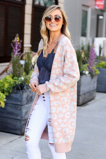Blush - Leopard Lightweight Luxe Knit Cardigan Side View