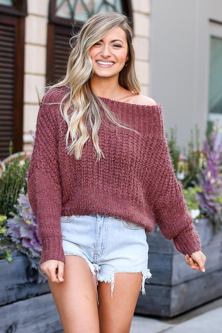 Marsala - Dress Up model wearing the Cropped Eyelash Knit Top