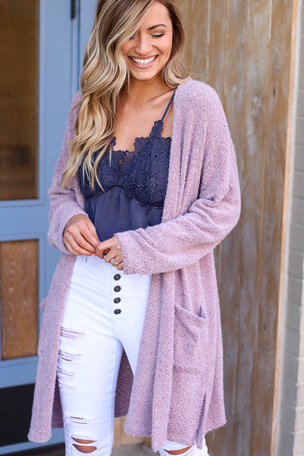 Lavender - Model wearing the Blush Fuzzy Knit Cardigan
