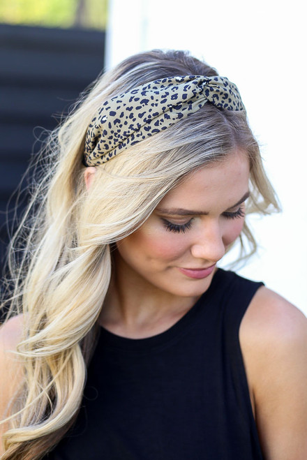 Olive - Leopard Print Knotted Headband