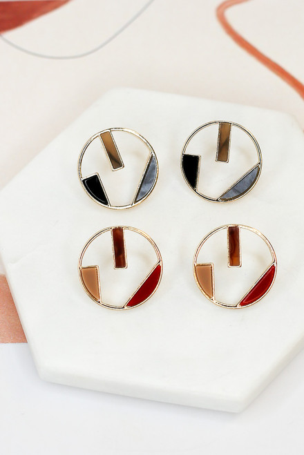 Red - Geometric Statement Earrings